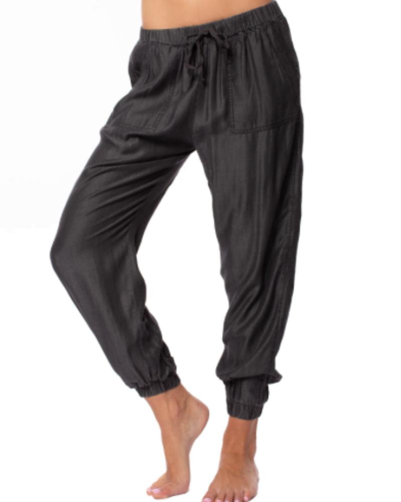 Drawstring Pants W/Pocket And Elastic Waist & Ankle