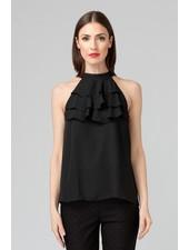 Joseph Ribkoff Ruffle high halter neckline blouse