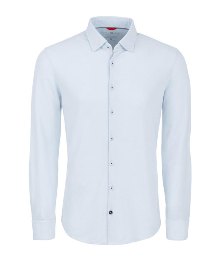 Stone Rose Light Blue Waffle Knit Long Sleeve Shirt