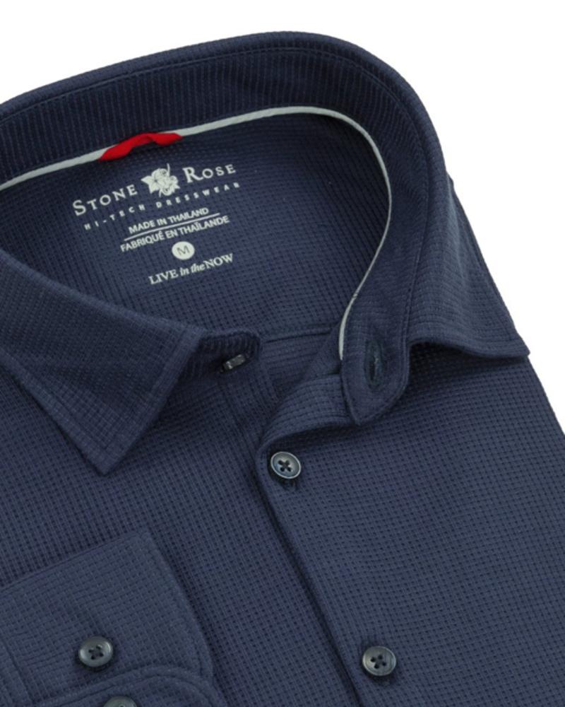 Stone Rose Navy Waffle Knit Long Sleeve Shirt