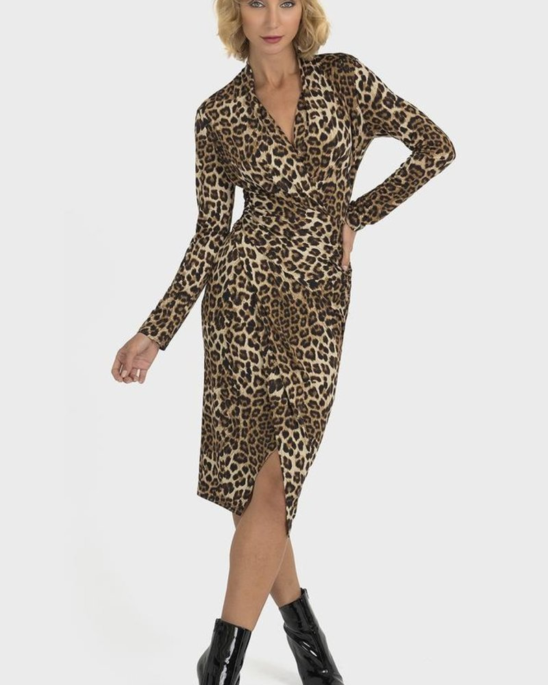 Joseph Ribkoff Leopard wrap dress