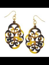verdigris Tortoise Swirl Cut Out Earrings