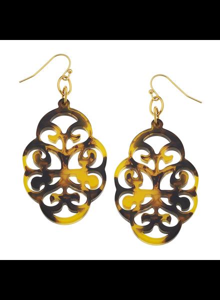 Susan Shaw Tortoise Swirl Cut Out Earrings