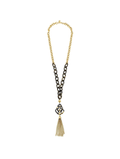 Susan Shaw Tortoise Pendant Tassel Necklace