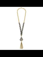 verdigris Tortoise Pendant Tassel Necklace
