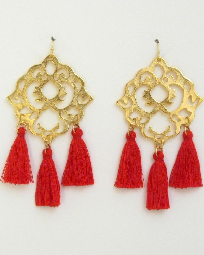 Susan Shaw Handcast Gold Filigree with Red Tassel Earrings