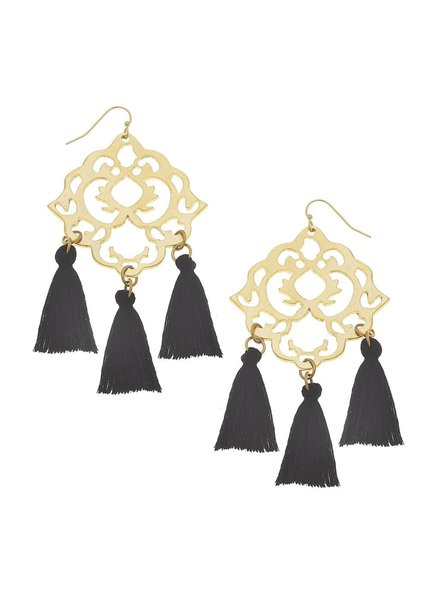 Susan Shaw Handcast Gold Filigree & Black Tassel Earrings