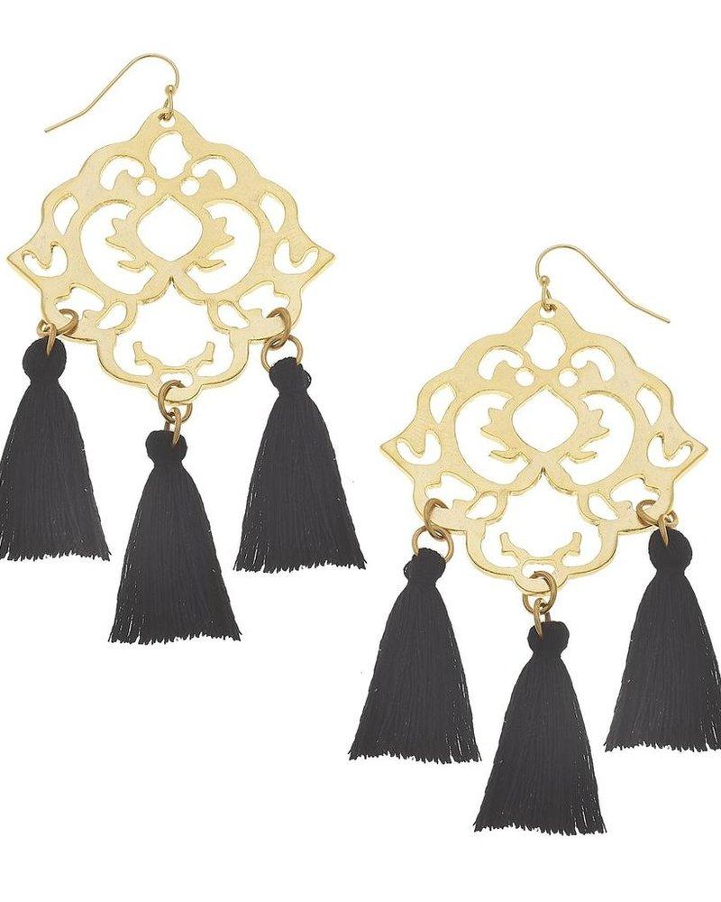 Susan Shaw Handcast Gold Filigree & Black Tassel Earrings