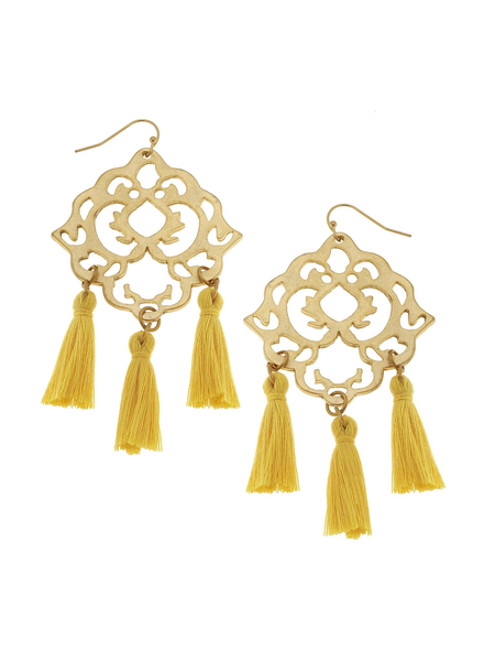 Susan Shaw Filigree Tassel Earrings