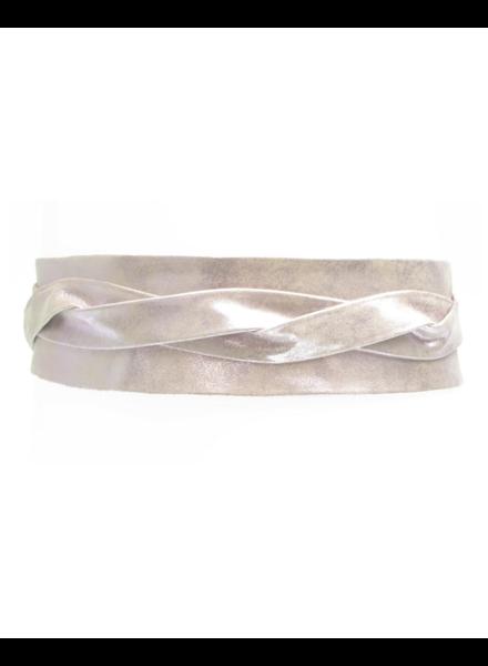 Ada Wrap leather belt, Rose shimmer