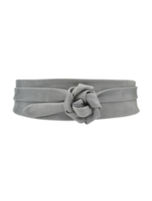 Ada Wrap Leather Belt, Grey