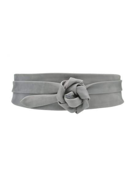 Ada Wrap Leather Belt, Grey