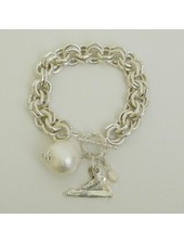 """Susan Shaw Handcast Silver """"Virginia"""" State with Cotton Pearl Bracelet"""