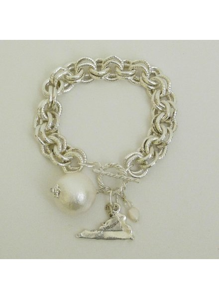 "Susan Shaw Handcast Silver ""Virginia"" State with Cotton Pearl Bracelet"