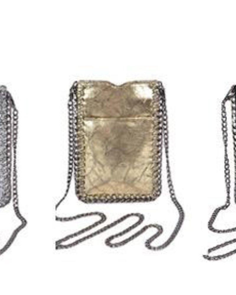 verdigris Chain Trim Cell Phone Crossbody Bag