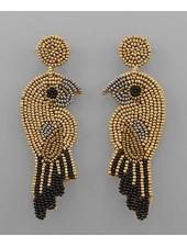 verdigris Beaded Bird Earrings