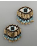 verdigris Beaded Eye fringe earrings