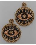 verdigris Beaded Circle Eye Earrings
