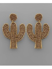 verdigris Gold Beaded Cactus Shaped Earrings