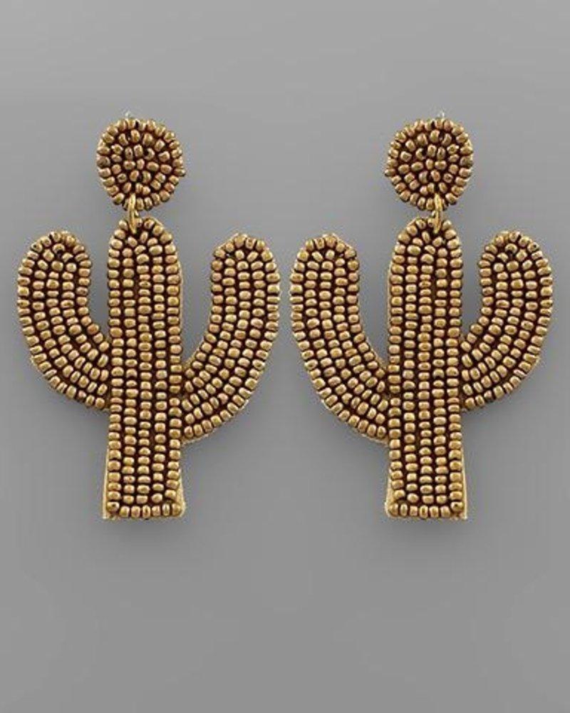 verdigris Gold Beaded Cactus Shaped Earrings
