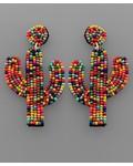 verdigris Multi Beaded Cactus Shaped Earrings