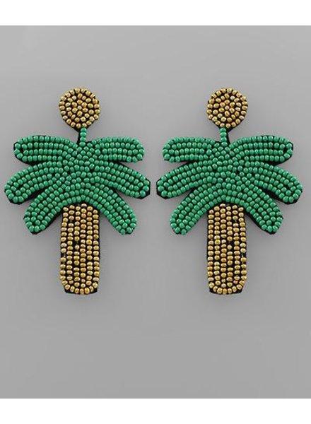 verdigris Palm Tree Beaded Earrings, Gold/Green