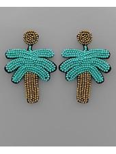 verdigris Palm Tree Beaded Earrings, Gold/Turquoise