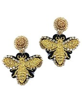 verdigris Bee Beaded Earrings