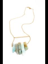 verdigris Natural Rock Gold Necklace