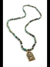 verdigris Holy Buddha, Natural Turquoise Necklace
