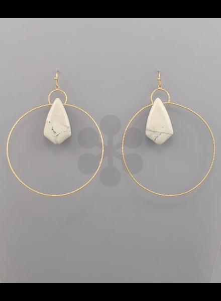 verdigris Rhombus & Circle Earrings