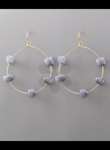 verdigris Stone Circle Earrings, Grey/Gold