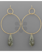 verdigris Teardrop Stone Ring Earrings, Grey/Gold