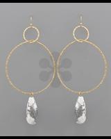 verdigris Teardrop Stone Ring Earrings,<br /> white howlite/gold