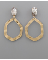 verdigris GadeStone & Oval Earrings, Grey/Gold