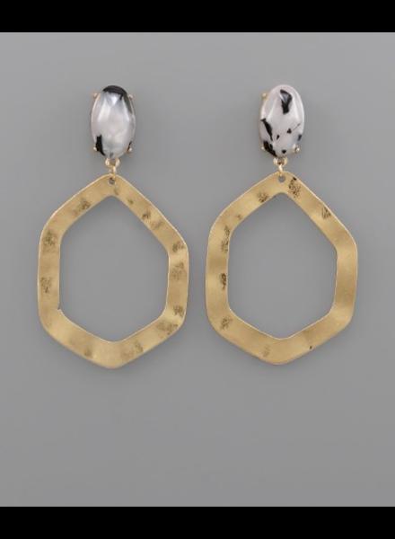 verdigris Jade Stone & Oval Earrings, White/Black/Gold