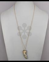 verdigris Stone Horn Pendant Necklace