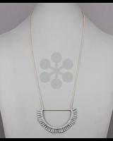 verdigris Wedge Frame Tassel Necklace