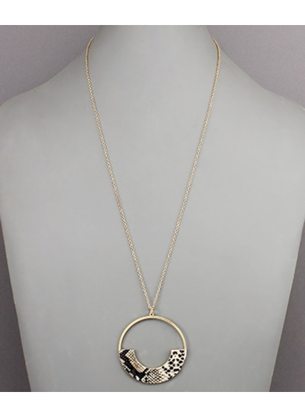 verdigris Half Leather Circle Necklace