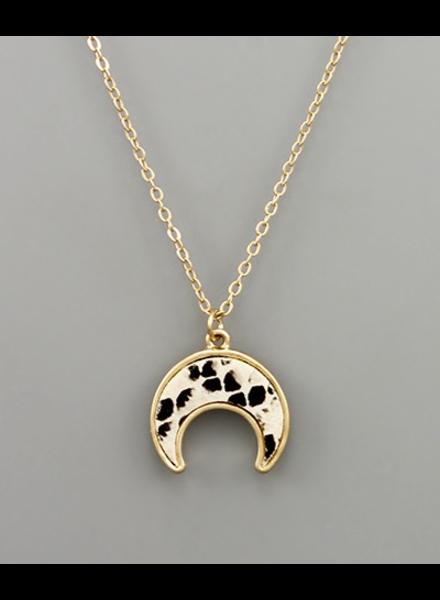 verdigris Crescent Leather Necklace