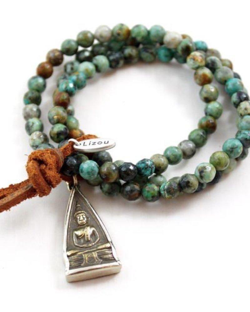 verdigris Buddha, Natural Turquoise Bracelet
