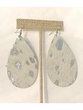 verdigris Leather silver shinny hair earrings