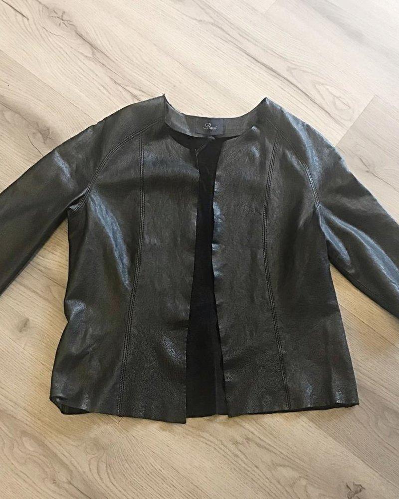 verdigris Open front long sleeve leather jacket
