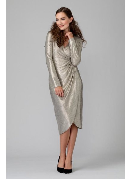 Metallic sheer wrap dress