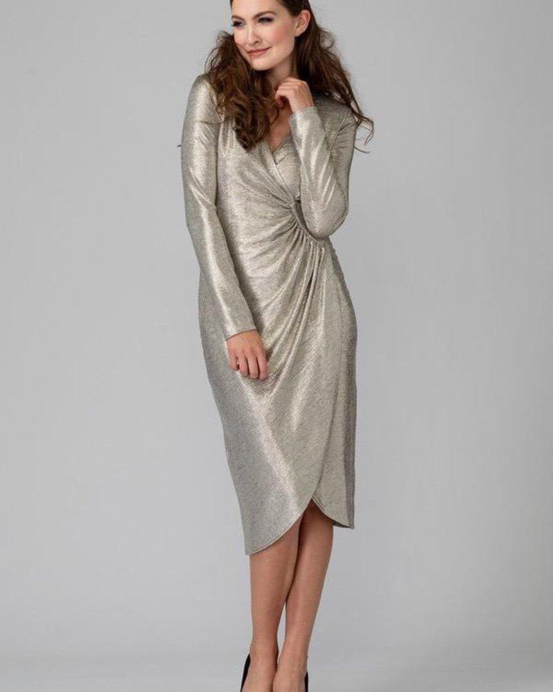 Metallic sheer wrap dress