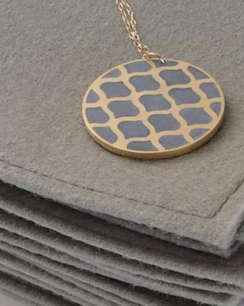 verdigris Gold Disc Pendant Concrete Necklace