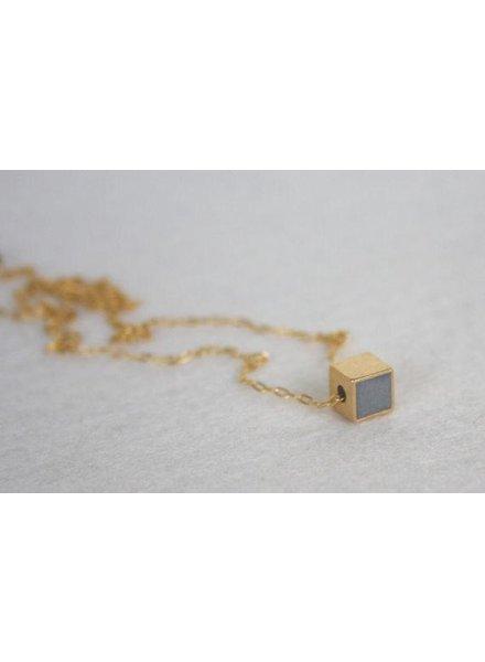 verdigris Gold and concrete cube necklace