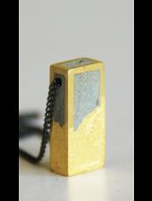 verdigris Concrete And Gold Leaf rectangle Necklace