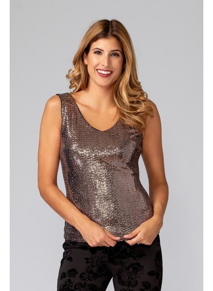 Joseph Ribkoff Sequined top has a deep vee