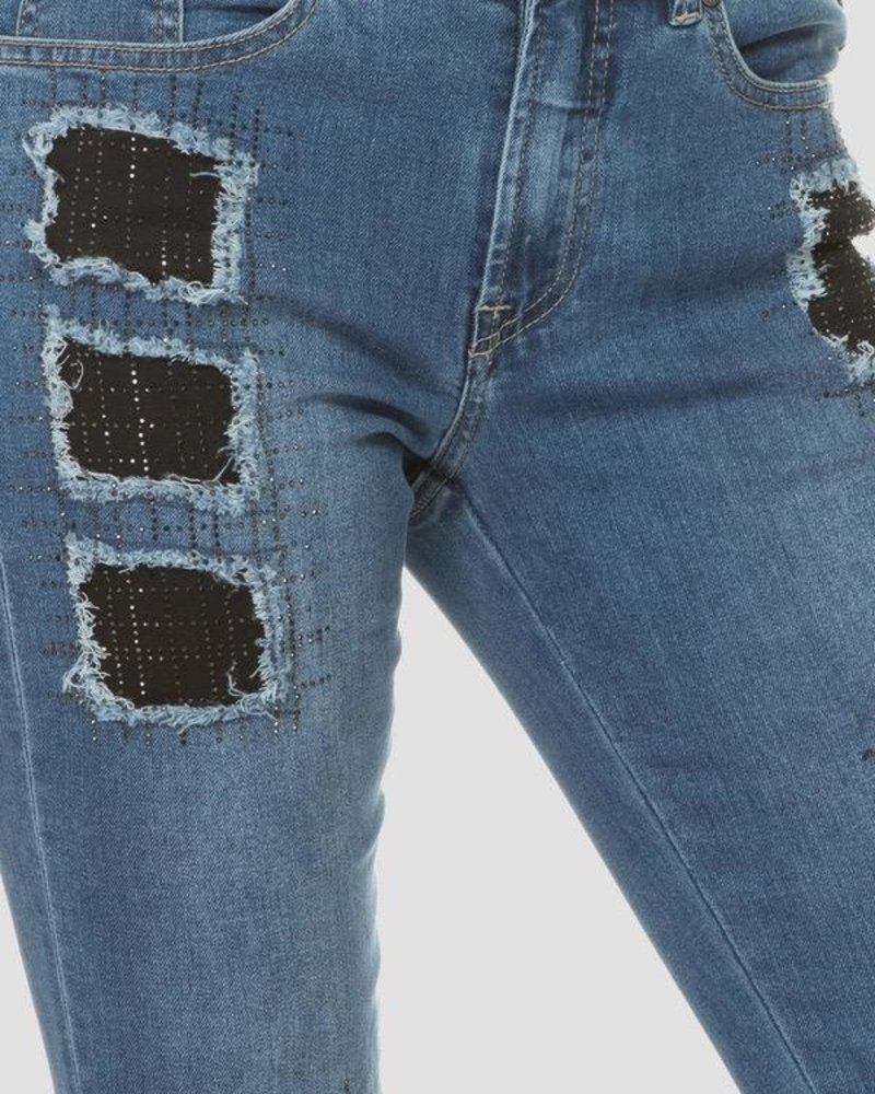 Joseph Ribkoff Sparkely patch denim